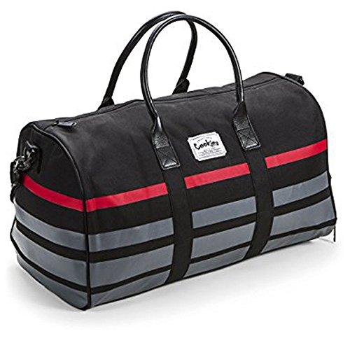 COOKIES SMELL PROOF 900 DENIER NYLON W/ PRINTED STRIPE DUFFEL BAG (Black, one size) by COOKIES
