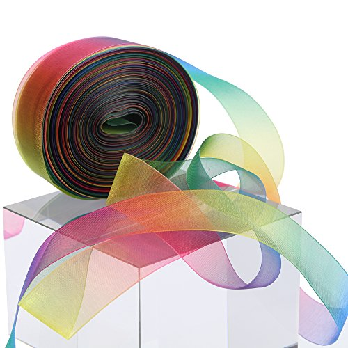 Cheapest Price! Molshine 50yd 1-inch Premium Quality Shimmer Sheer Organza Ribbon - Rainbow seven co...