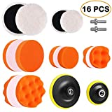 Electop 5 inch & 3 inch Drill Buffing Sponge Pads Kit Woolen Polishing Waxing Pads for Car Sanding, Buffing, Polishing, Waxing, Sealing Glaze 16 PCS(12 Pads+2 Drill Adapters+2 Suction Cups)