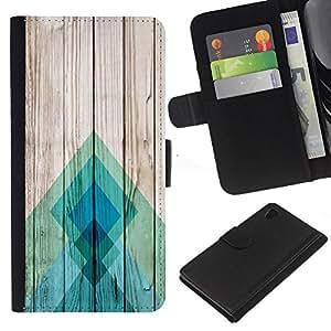 iBinBang / Flip Funda de Cuero Case Cover - Lines Wood Texture Docks Pier Surf - Sony Xperia Z4