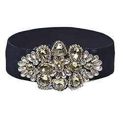 ladies Rhinestone Crystal Beaded Flower Girdle Belt