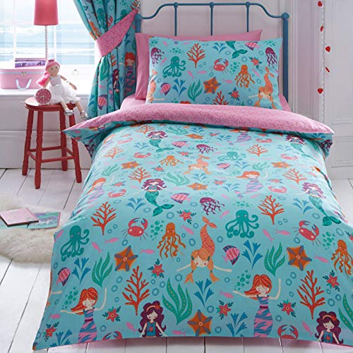Kidz Club Reversible Design Mermaid Double Duvet Quilt Cover and 2 Pillowcase Bedding Bed Set for Girls, Blue