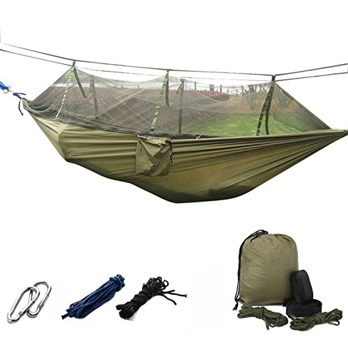 Portable Sport Camping Hammock, Parachute Fabric Double Person Hanging Hammock Swing Seat For Outdoor Travel Holiday Beach Indoor Outdoor Camping Hiking Tent Bed With Mosquito Net - Army Green ()