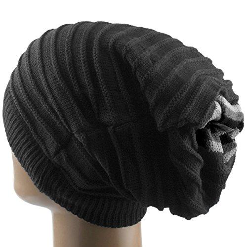 Samtree Unisex Slouchy Beanie Hat Stripe Knit Cap Loop Scarf Neckerchief Dreadlocks(Black) ()