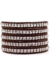 Chan Luu Clear Quartz Wrap Bracelet on Brown Leather