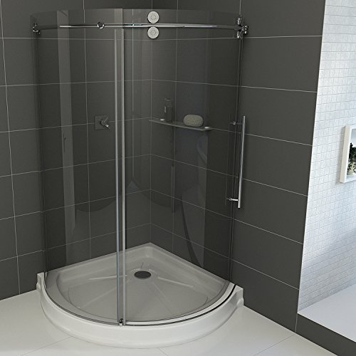 Frameless Round Sliding Shower Enclosure With .3125 In. Clear Glass And  Stainless Steel Hardware (Right Sided Door) (Shower Base Included)