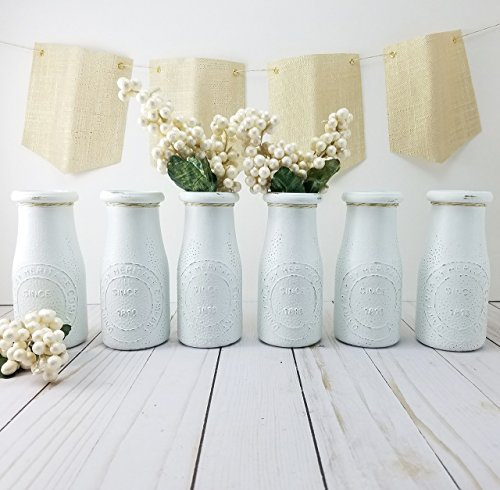 Flower Bud Jar (White Flower Vase - Bud Vases - Milk Bottles - Bridal Shower Centerpiece - Baby Shower Table Decor - Dairy Bottle Vase - Small Flower Vase - Wedding Vases - Table Decor)