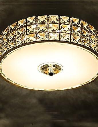 Amazon.com: Ling@ La lámpara de techo de cristal LED dorada ...