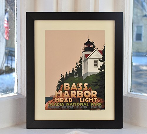 Bass Harbor Head Light, Maine Framed Print (8x10 Lighthouse Travel Poster, Wall Decor Art)