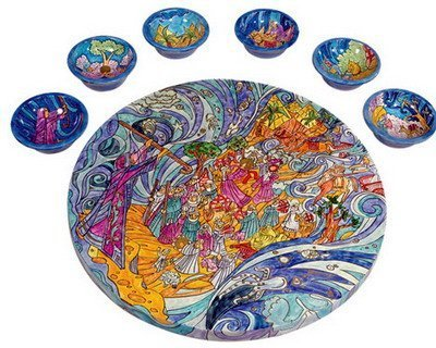 Peacocks Seder Plate and Six Small Bowls By Yair Emanuel
