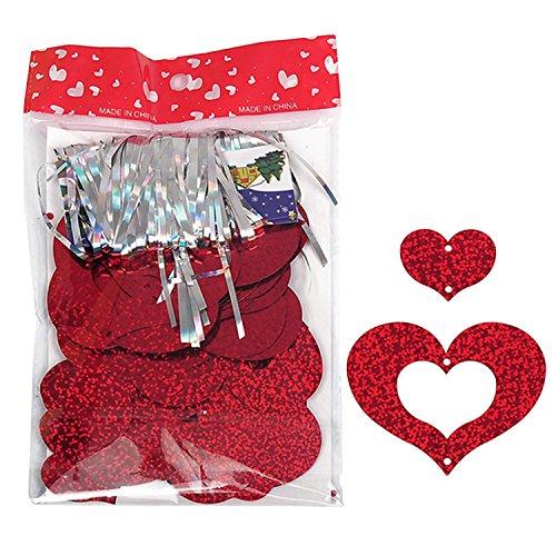 Migavenn 100 PCS DIY Ruban Gland avec Bling Shining Coeur Carte Pendentif pour Ballons De Mariage Anniversaire Saint Valentin Dcoration Partie Fournitures Set Rouge