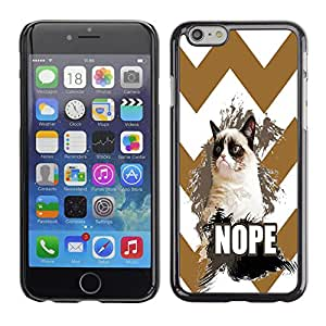 - Chevron Grumpy Cat - - Monedero pared Design Premium cuero del tirš®n magnšŠtico delgado del caso de la cubierta pata de ca FOR Apple iPhone 6 6S 4.7 Funny House