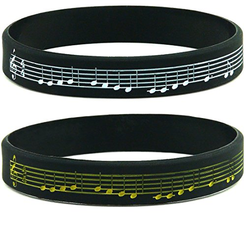 (10-Pack) Music Silicone Bracelets - Beethoven's 9th Symphony Silicone Rubber Wristbands - Bulk Music Gifts Party Favors for Musicians
