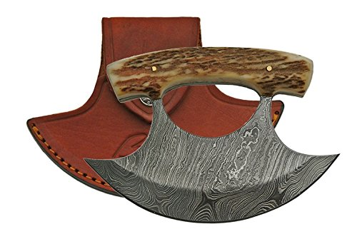Damascus Ulu Knife - Bone Handle & Leather Sheath by DM-1111SG (Image #1)