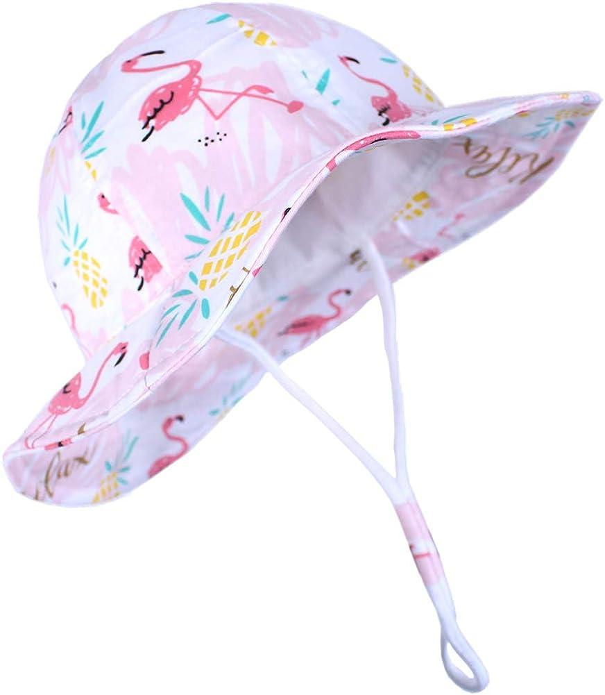 Kids4ever Baby Sonnenhut mit Verstellbarem Kinnriemen UV Schutz 50 Sommerm/ütze Strand Atmungsaktiver Niedlicher Muster Fisherhut