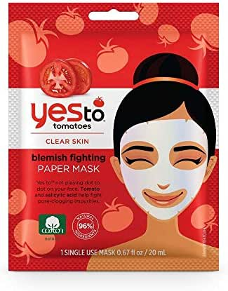 Yes To Tomatoes Paper Face Mask for Clear Skin Blemish Fighting Paper Facial Mask | Single Use / 0.67 fl oz