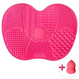 Butyface Brush Cleaning Mat, Set of 1 Cosmetic Brush Cleaning Mat and 1 Makeup Sponge Portable Convenient Silicone Washing Makeup Tool, Suction Cup
