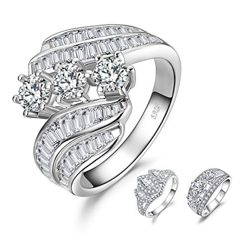 JewelryPalace Twisted Channel Set Baguette Bypass Band 6 Prong 3 Stone 5ct Cubic Zirconia Promise Wedding Engagement Ring 925 Sterling Silver size 7