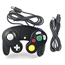 Gamecube Controller, AreMe 1 Pack Classic Wired Controller with Extension Cable for Nintendo Wii Gamecube GC Console (Black)