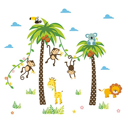 Removable Creative 3D Jungle Monkeys and Palm Tree