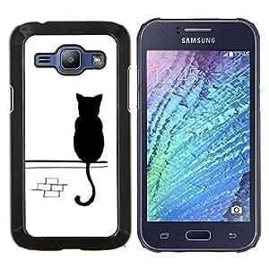 Stuss Case / Funda Carcasa protectora - Lindo gatito blanco calle minimalista - Samsung Galaxy J1 J100