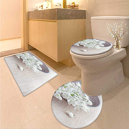 Miki Da Non Slip Bath Shower Rug White Flowers on The Plate Custom Made Rug Set