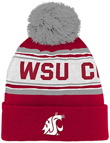 NCAA Washington State Cougars Youth Boys Cuffed Knit with Pom Hat, 1-Size, Victory (Washington State Comforter)