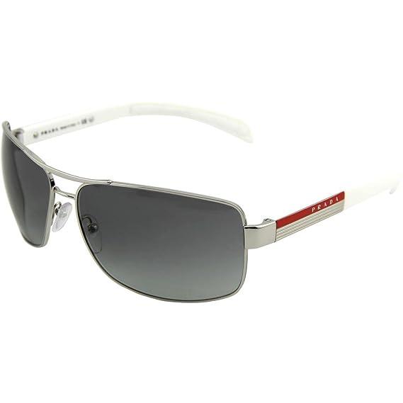 b58646a116 Prada Linea Rossa 54i Silver Frame Grey Gradient Lens Metal Sunglasses   Prada  Amazon.co.uk  Clothing