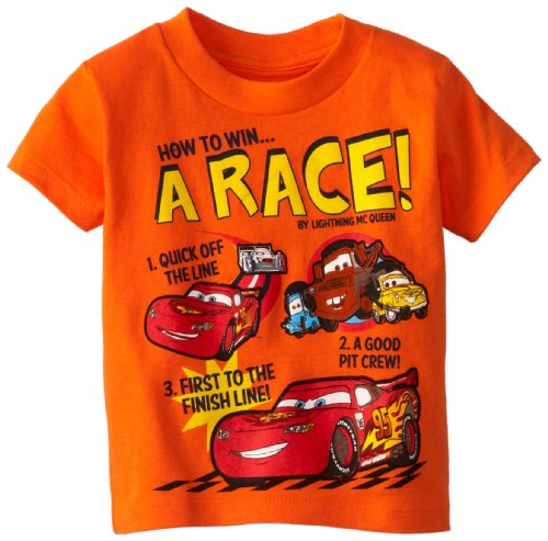Disney Little Boys' Toddler Cars How to Win a Race T-Shirt, Orange, ()