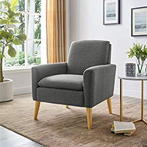 picture of Lohoms Modern Accent Fabric Chair Single Sofa Comfy Upholstered Arm Chair Living Room Furniture (Bluish Gray)