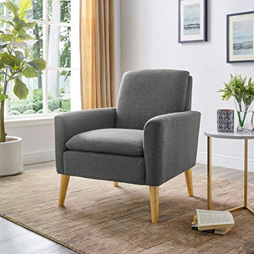 Lohoms Modern Accent Fabric Chair Single Sofa Comfy Upholstered Arm Chair Living Room Furniture (Bluish Gray),lohoms