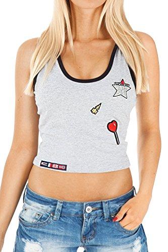 bestyledberlin - Camisas - Escotado por detrás - Sin mangas - para mujer gris claro