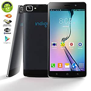 "Indigi® ANDROID 4.4 KK 5.5"" CAPACITIVE TOUCH SCREEN 3G GSM+WCDMA DUAL-CORE DUAL-SIM SMARTPHONE UNLOCKED! (Black)"