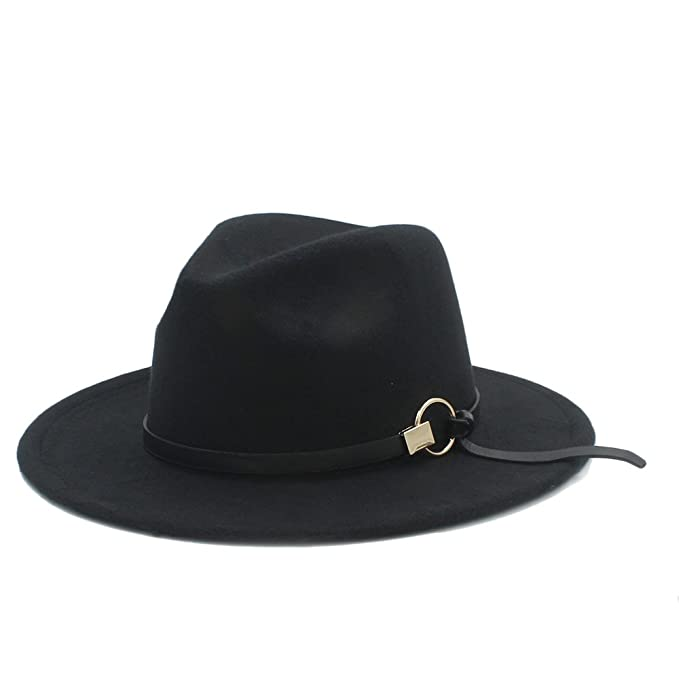 4eb1970225125 Good Hat Women Men Winter Fedora Hat With Alloy accessories (Color : 1, Size