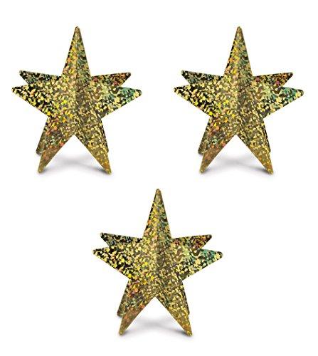 3 Piece 3-D Prismatic Gold Star Centerpieces, 12