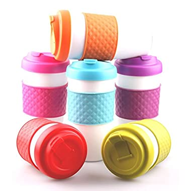 Set of 6 Large Sized BPA-Free Double-Wall Travel To-go Mugs with Comfort Grip (24oz)