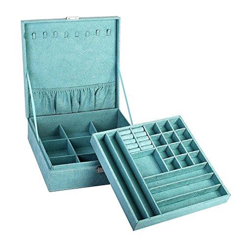 "Blackbag two-layer lint jewelry box organizer display storage case with lock (Blue, 10.2"" x 10.2"" x 3.2"")"