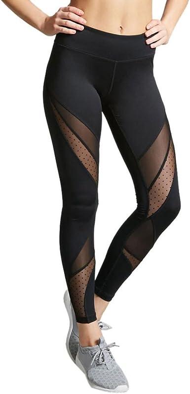 Memela Women Special Sheer Mesh Insert Yoga Leggings Running Workout Pants Tights Trousers
