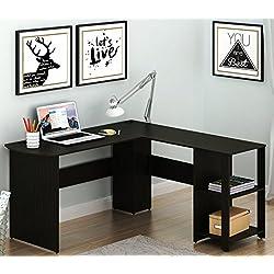 SHW L-Shaped Home Office Wood Corner Desk, Espresso