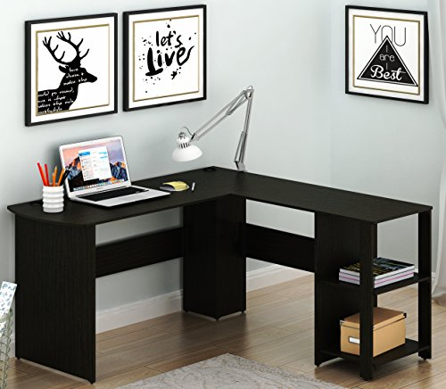 SHW L-Shaped Home Office Wood Corner Desk, Espresso