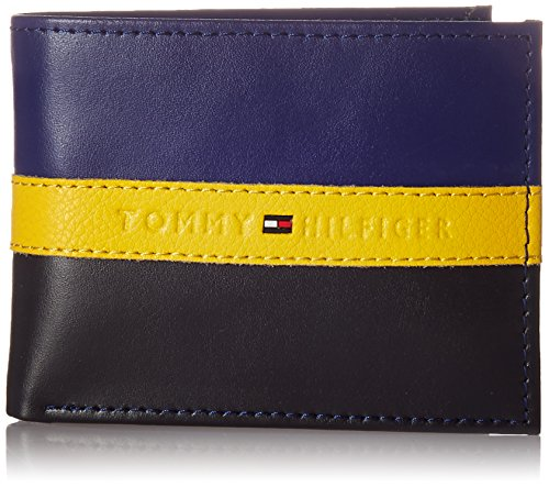 Tommy Hilfiger Men's Leather Wallet - RFID Blocking Slim Thin Bifold with Removable Card Holder and Gift Box, Navy/Black