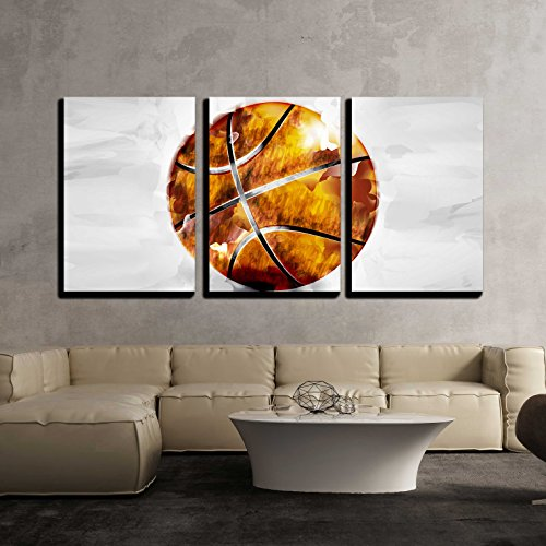 wall26 - 3 Piece Canvas Wall Art - Vector - Basketball ball in watercolor style - Modern Home Decor Stretched and Framed Ready to Hang - 16