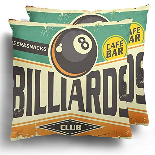 Starojan Throw Pillow Covers Pack of 2 Retro Billiards Sign Black Eight Ball on Green Club Polyester Square Cushion Cases Home Decor 18 x 18 Inches