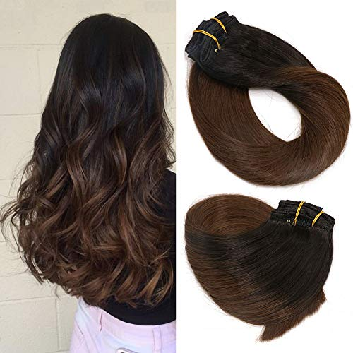 Clip In Hair Extensions Human Hair Ombre Hair Natural Black Fading to Medium Brown Brazilian Hair 120g 7pcs Per Set Remy Hair Full Head Silky Straight Human Hair Clip In Extensions(14 Inch #1BT4)