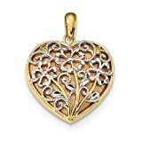 14k Yellow Rose Floral Heart Pendant Charm Necklace Love Fine Jewelry For Women Gift Set
