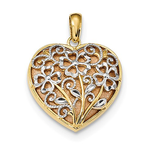14k Yellow Rose Floral Heart Pendant Charm Necklace Love Fine Jewelry For Women Gift Set -