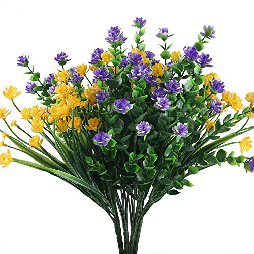 XYXCMOR Fake Flowers Plants 4pcs 2 Color Artificial Greenery Eucalyptus Leaves Plasitc Flowers Shrubs for Farmhouse Indoor Outside Hanging Planter Cemetery Decor Yellow and Purple