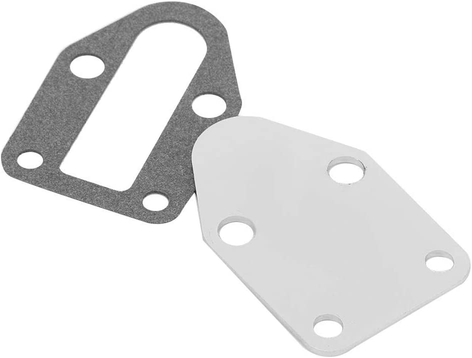 Aramox Fuel Pump Plate,Chrome Fuel Pump Mounting Plate With Gasket Fit for SB 283 305 327 350 383 400 Engine