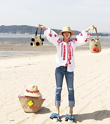 Summer 6 Crossbody Beach Women Travel Bags Pom Pom for Handbags 7 Flada Bag Straw qw47fnIa