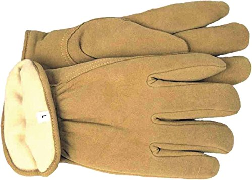 BOSS MANUFACTURING 7186L/4186L 040168 Thermal Insulated Split Deerskin Driver Glove, Large, Yellow by Boss Manufacturing